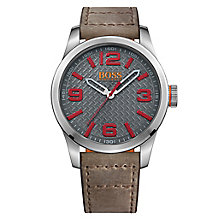Boss Orange Men's Grey Dial Brown Leather Strap Watch - Product number 4510097
