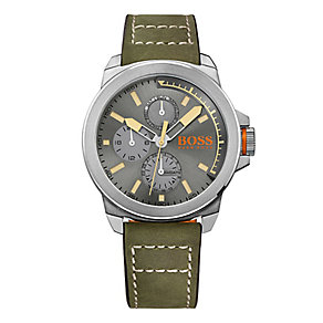 Boss Orange Men's Grey Dial Grey Leather Strap Watch - Product number 4510100