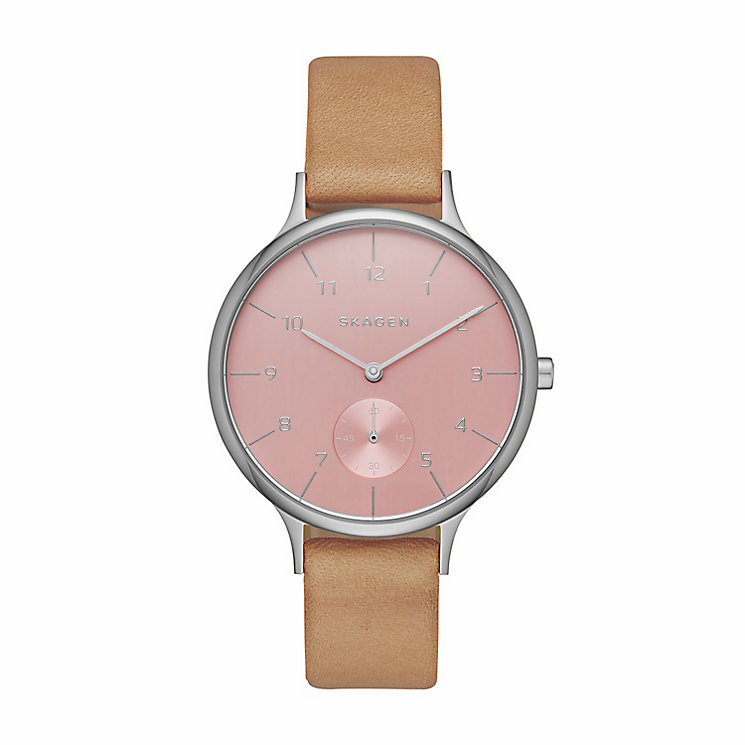 Skagen Ladies Pink Dial Brown Leather Strap Watch - Product number 4510127