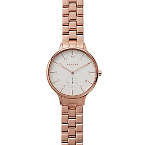 Skagen Ladies' White Dial Rose Gold-Plated Bracelet Watch - Product number 4510143