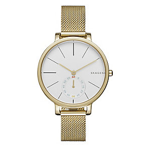 Skagen Ladies' White Dial Gold-Plated Bracelet Watch - Product number 4510623