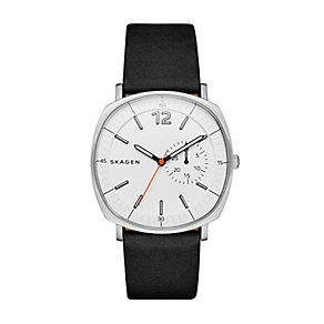 Skagen Men's Square White Dial Black Leather Strap Watch - Product number 4515242