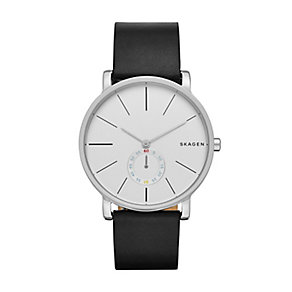 Skagen Men's White Dial Black Leather Strap Watch - Product number 4515277