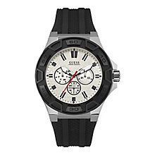 Guess Men's Round White Dial Black Silicon Strap Watch - Product number 4515307