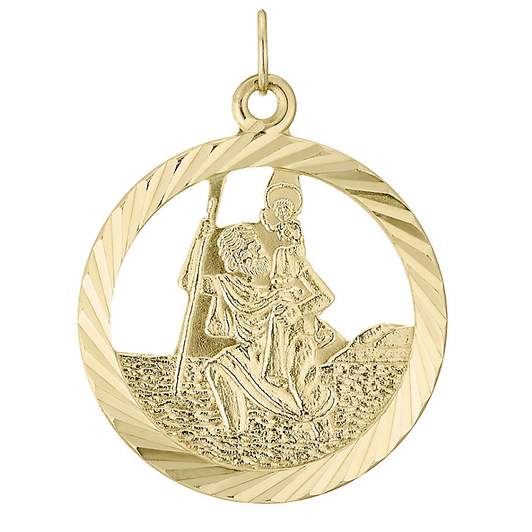9ct Gold Diamond Cut St Christopher Pendant (No Chain) - Product number 4515390