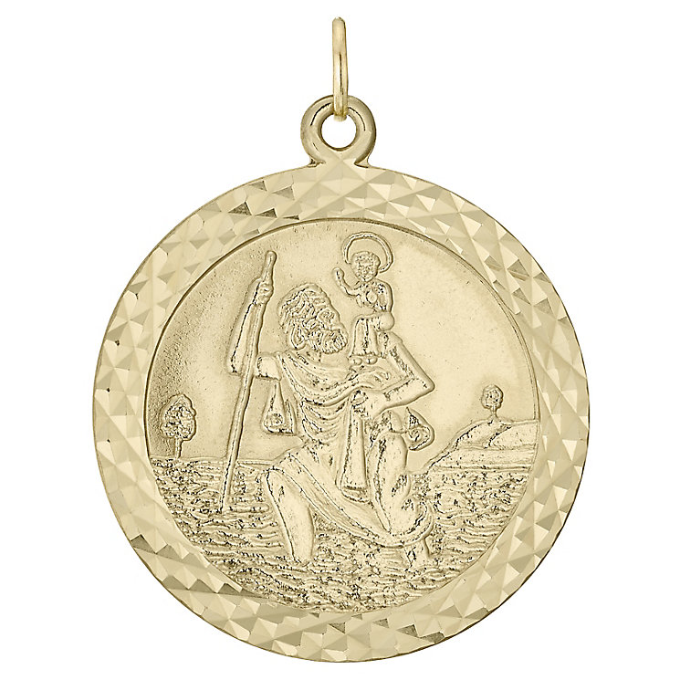 9ct Gold Diamond Cut Edge St Christopher Pendant (No Chain) - Product number 4515404