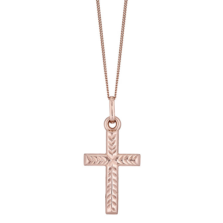 9ct Rose Gold Diamond Cut Cross Pendant - Product number 4518578