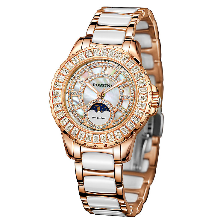 Rossini Ladies' Rose Gold-Plated & Ceramic Bracelet Watch - Product number 4520211