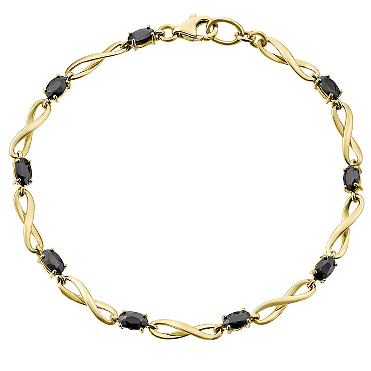 9ct Gold & Sapphire Figure of 8 Bracelet - Product number 4520343