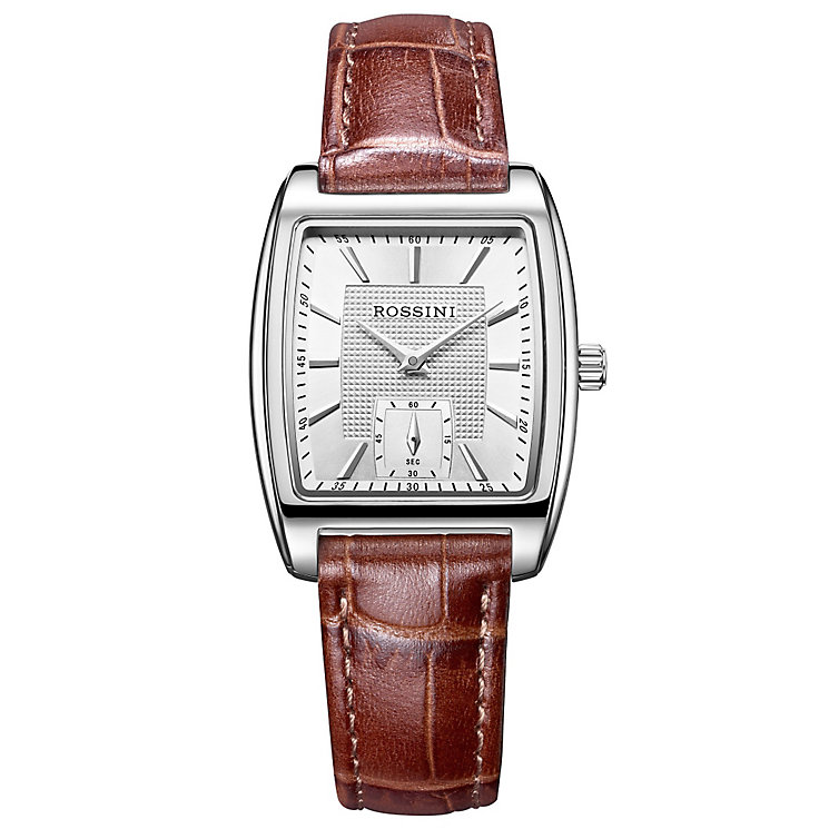 Rossini Ladies' Silver Square Dial Brown Leather Strap Watch - Product number 4520645
