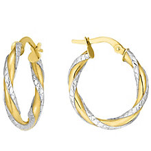 9ct Two Colour Gold Twist Creole - Product number 4523318