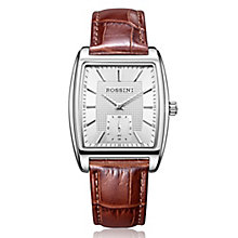 Rossini Men's Square Silver Dial Brown Leather Strap Watch - Product number 4532384