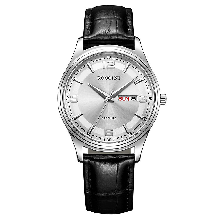 Rossini Sapphire Men's Silver Dial Black Leather Strap Watch - Product number 4532643