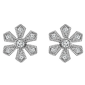 Emmy London Sterling Silver 1/10 Carat Diamond Stud Earrings - Product number 4532783