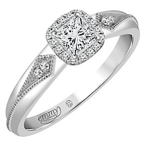 Emmy London 9ct White Gold 1/4 Carat Diamond Solitaire Ring - Product number 4535030