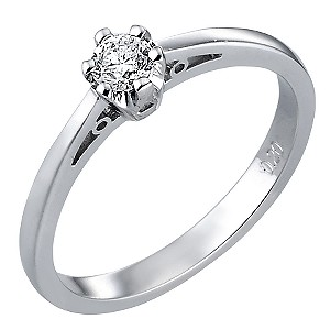 9ct White Gold Fifth Carat Diamond Solitaire Ring
