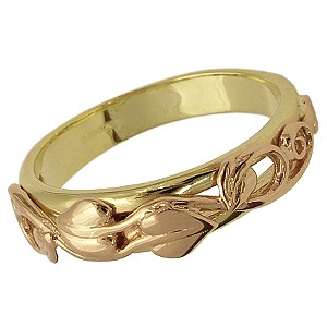 Clogau Gold 9ct Two-colour Gold Leaf Ring