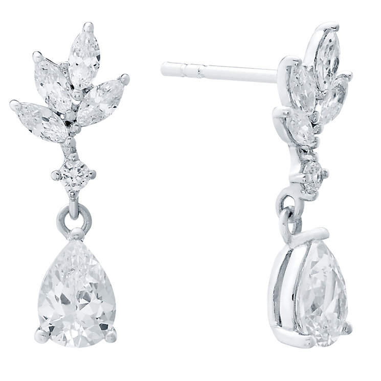Sterling Silver Leaf Style Drops Cubic Zirconia Earrings - Product number 4546350