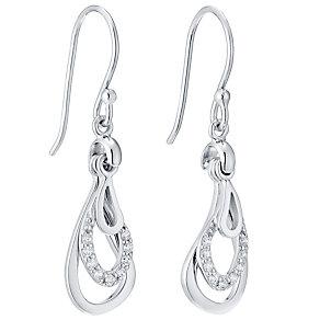 Sterling Silver Tear Drop Cubic Zirconia Earrings - Product number 4546369