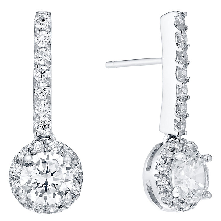 Sterling Silver Halo Cubic Zirconia Drop Earrings - Product number 4546458