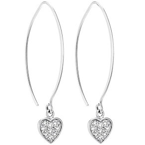 Sterling Silver Cubic Zirconia Heart Drop Earrings - Product number 4546466