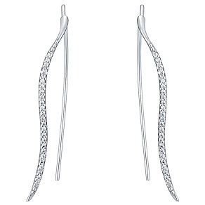 Sterling Silver Cubic Zirconia Wavy Ear Climber - Product number 4546474
