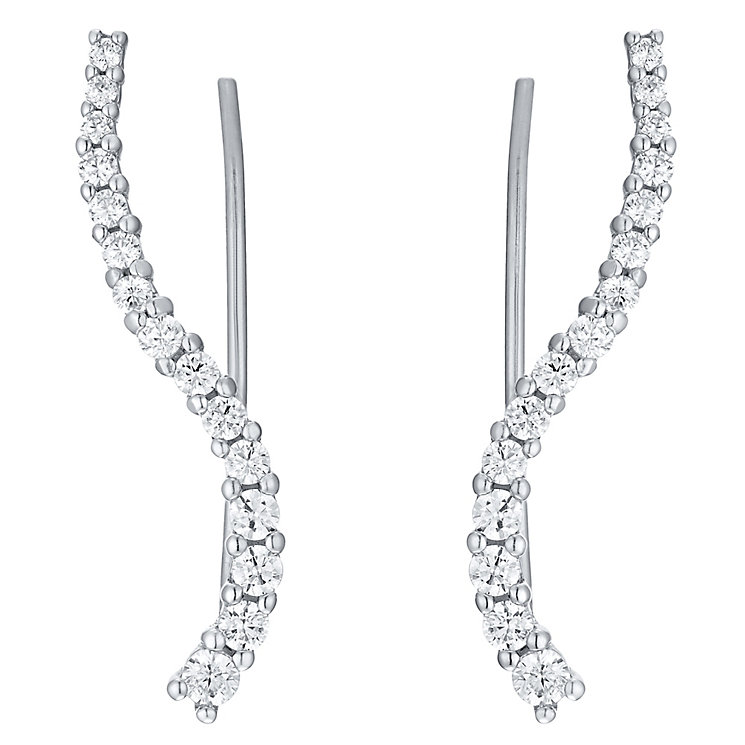 Sterling Silver Cubic Zirconia Curve Ear Climber - Product number 4546490