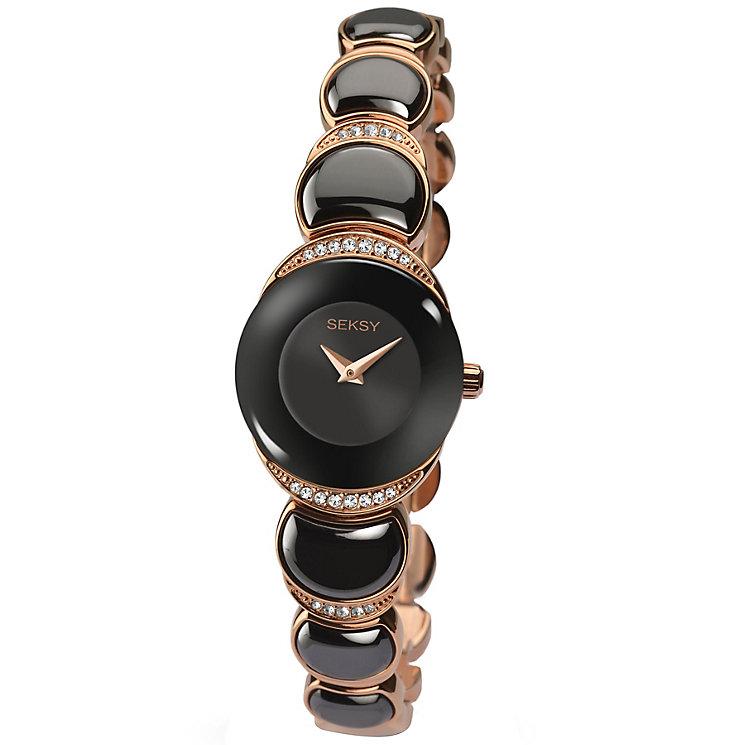 Sekonda Seksy Ladies' Rose Gold-Plated Black Bracelet Watch - Product number 4546504