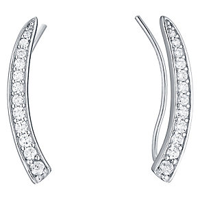 Sterling Silver Cubic Zirconia Curved Ear Climber - Product number 4546539