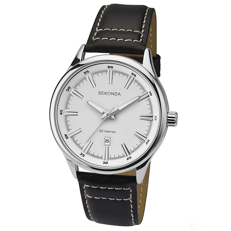 Sekonda Men's White Dial Black Leather Strap Watch - Product number 4546717