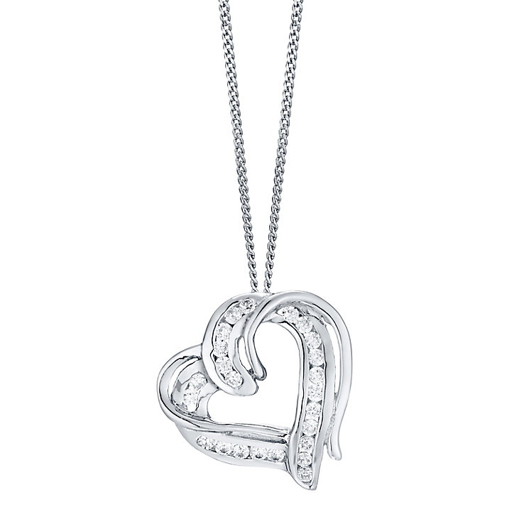 Sterling Silver Cubic Zirconia Double Heart Pendant - Product number 4546938
