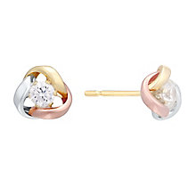 9ct Three Colour Gold Knot Stud - Product number 4548558
