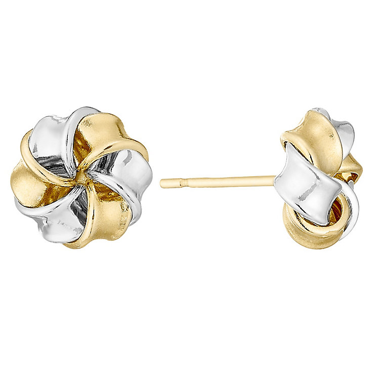 9ct Two Colour Gold Cubic Zirconia Knot Stud - Product number 4548590