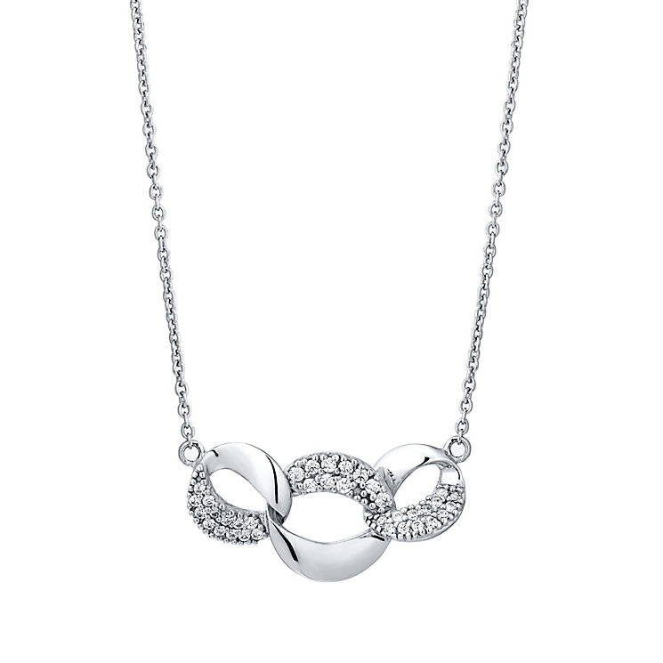 Sterling Silver Cubic Zirconia Triple Link Necklace - Product number 4548604