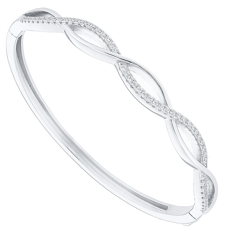 Sterling Silver Cubic Zirconia Scalloped Bangle - Product number 4549422