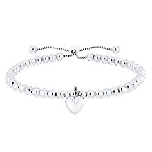 Sterling Silver Beaded Heart Bolo Bracelet - Product number 4549465