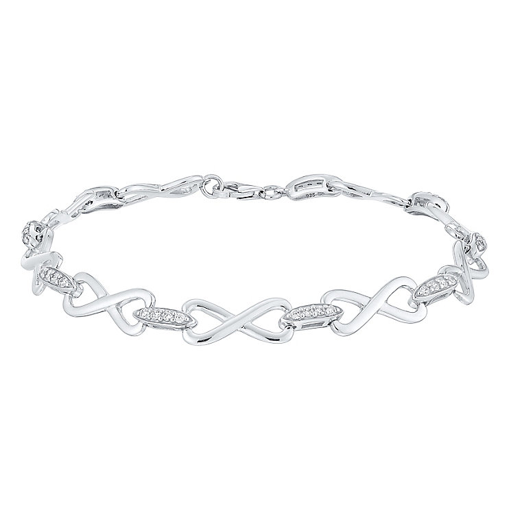 Sterling Silver Cubic Zirconia Infinity Bracelet - Product number 4549503