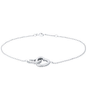 Sterling Silver Cubic Zirconia Interwined Heart Bracelet - Product number 4549511