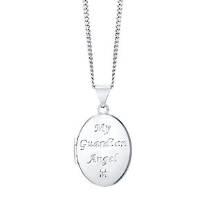 Sterling Silver & Diamond Children's Guardian Angel Locket - Product number 4549600
