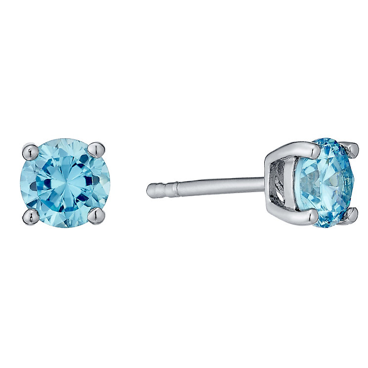 March Sterling Silver Blue Cubic Zirconia Stud Earrings - Product number 4552091