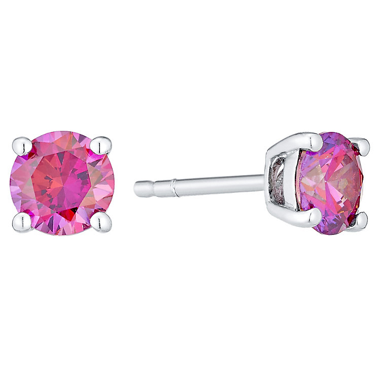 July Sterling Silver Pink Cubic Zirconia Stud Earrings - Product number 4552180
