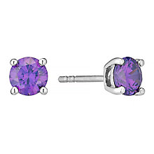 February Sterling Silver Puple Cubic Zirconia Stud Earrings - Product number 4552261