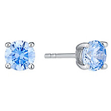 November Sterling Silver Blue Cubic Zirconia Stud Earrings - Product number 4552350