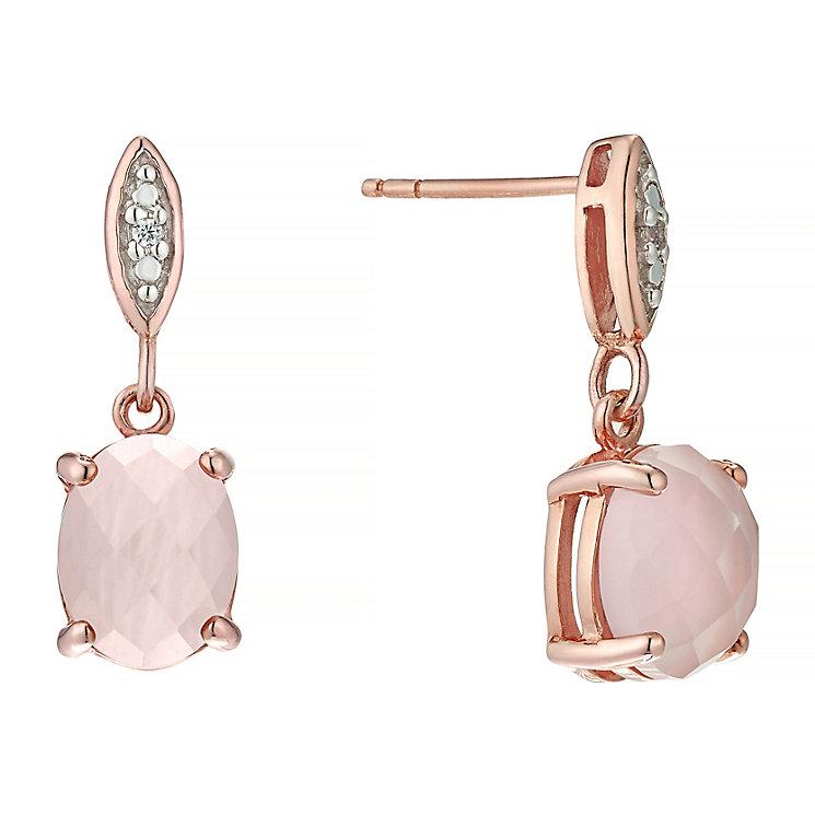 Pink Plated Rhodium Semi Precious Stone Drop Earrings - Product number 4552512