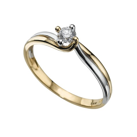 18ct two-colour fifteen point diamond solitaire ring