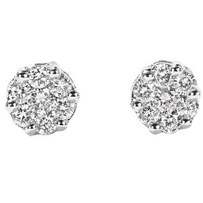 9ct white gold 15 point diamond cluster earrings - Product number 4553438