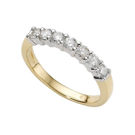 18ct two-colour gold half carat diamond half-eternity ring