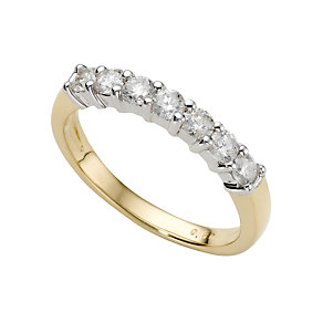 18ct two-colour gold half carat diamond half-eternity ring - Product number 4553780