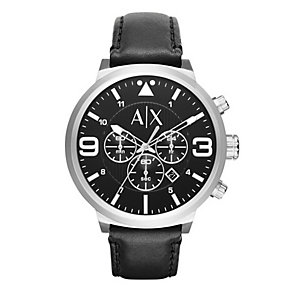 Armani Exchange Men's Black Dial Black Leather Strap Watch - Product number 4554353