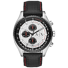 Armani Exchange Men's Silver Dial Black Leather Strap Watch - Product number 4554442